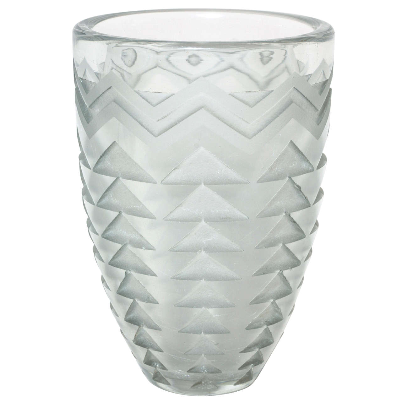 Jean Luce French Art Deco Clear Etched Glass Vase