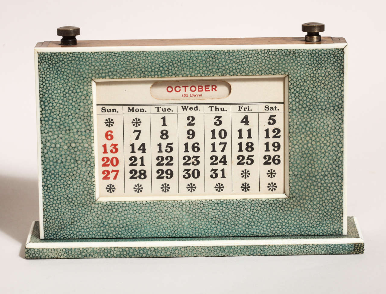 Perpetual Calendar Art Deco : English art deco green shagreen perpetual calendar for