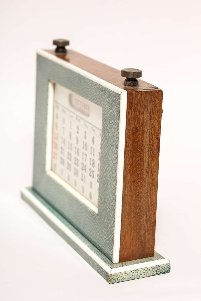 Perpetual Calendar Art Deco : English art deco green shagreen perpetual calendar for