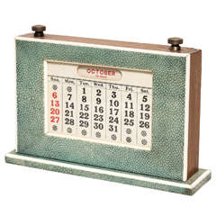 English Art Deco Green Shagreen Perpetual Calendar