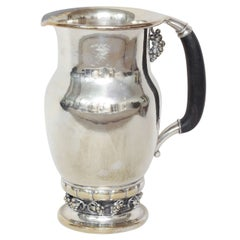 Georg Jensen Danish Large Sterling Silver and Ebony Pitcher #407 A