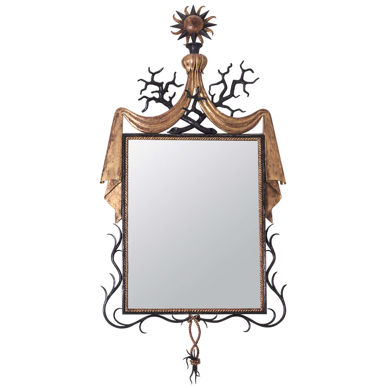 Gilbert poillerat parcel gilt wrought iron mirror french for Wrought iron mirror