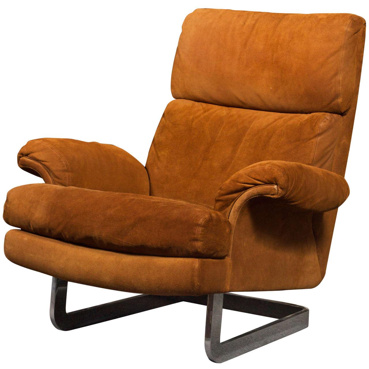 1970 s Metropolitan Suede Lounge Chair Saturday Sale