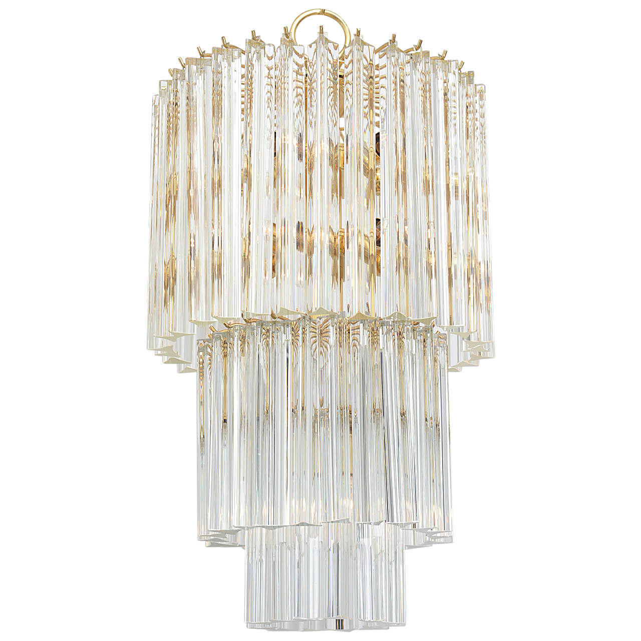 Murano Prism Chandelier: Venini Three-Tier Triedri Murano Glass Prism Chandelier At