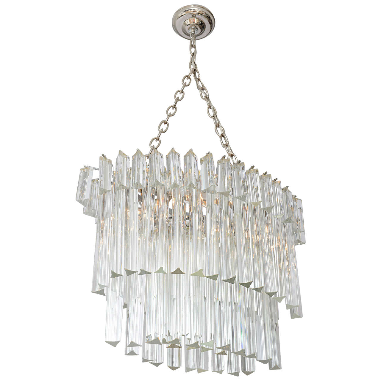 Venini Three-Tier Oval Glass Prism Chandelier at 1stdibs