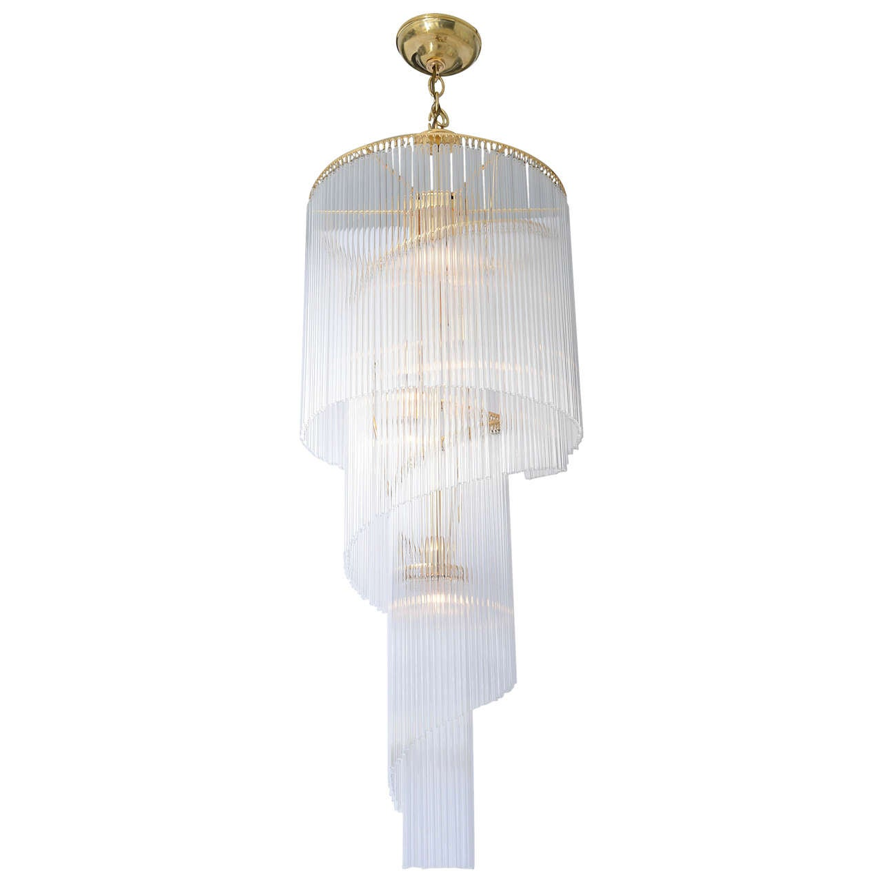 Cascading Long Glass Rod Chandelier With Brass Frame At