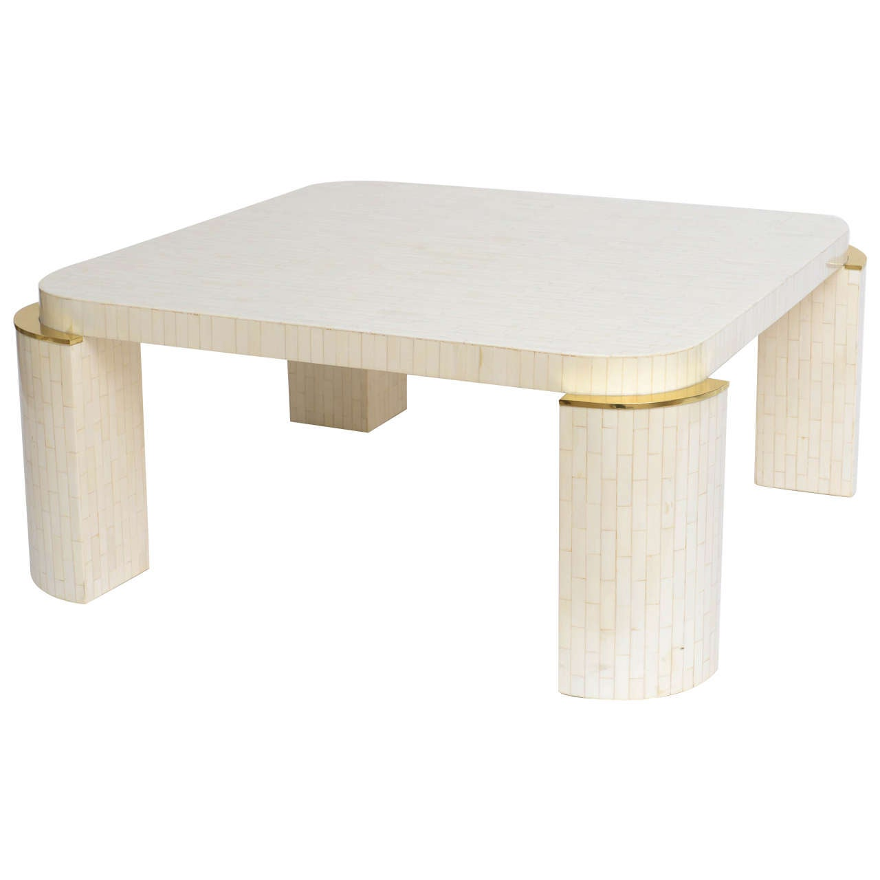 bone inlay cocktail table with brass corner caps at 1stdibs. Black Bedroom Furniture Sets. Home Design Ideas