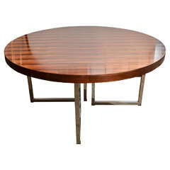 1970s Rosewood Table in the Style of Gordon Russell with Polished chrome Legs