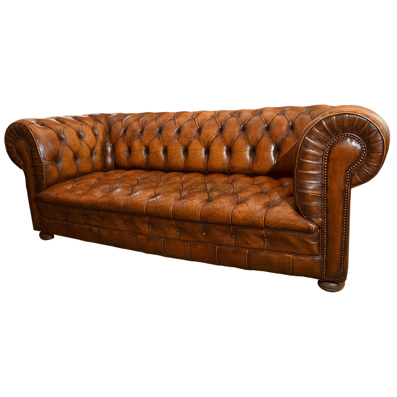 1970s French Leather Chesterfield Sofa