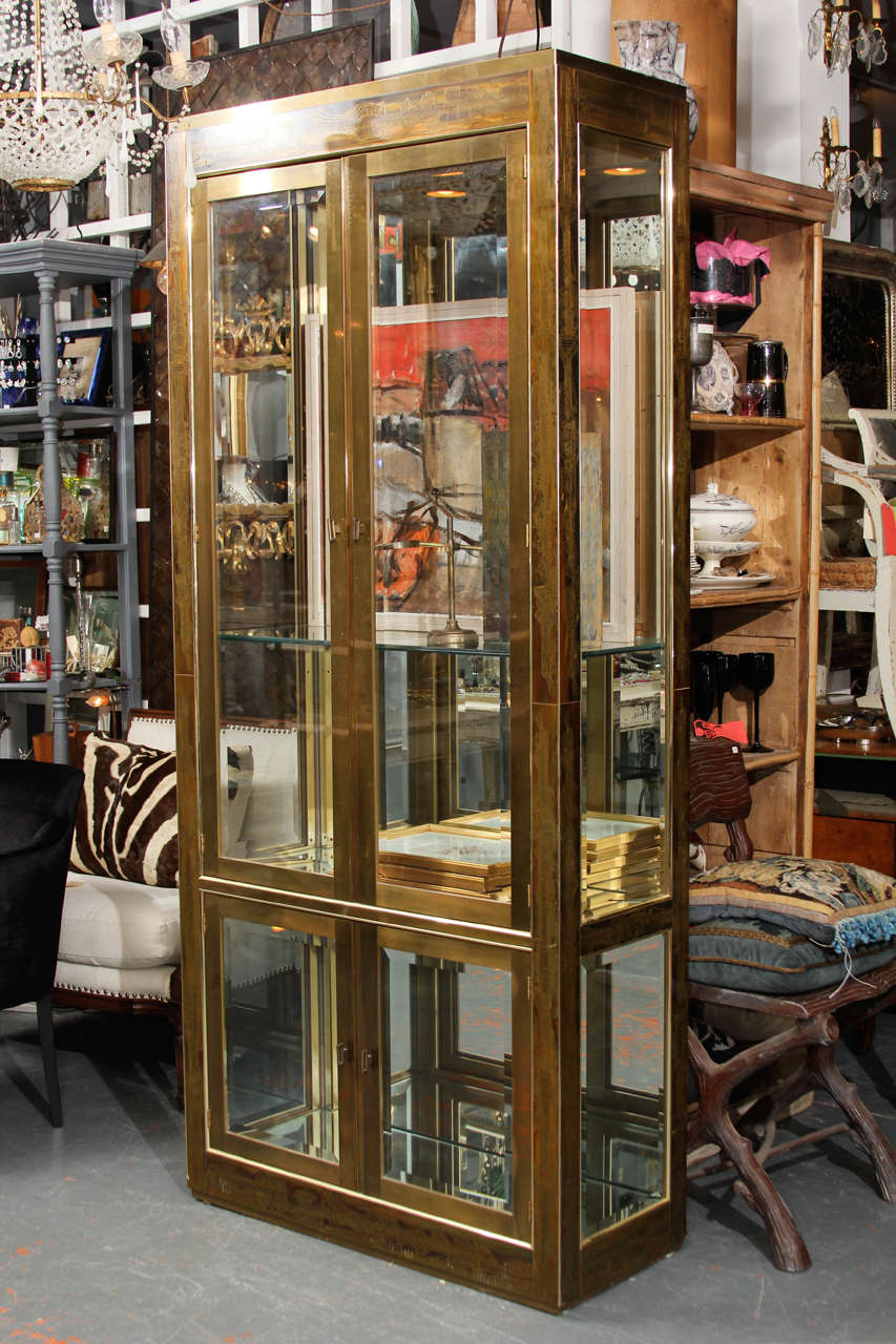 Single acid etched brass vitrine Bernhard Rohne for Mastercraft.