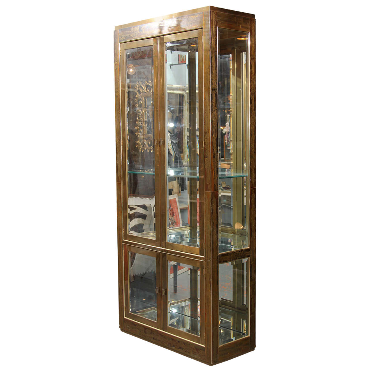 Bernhard Rohne Brass Vitrine For Sale