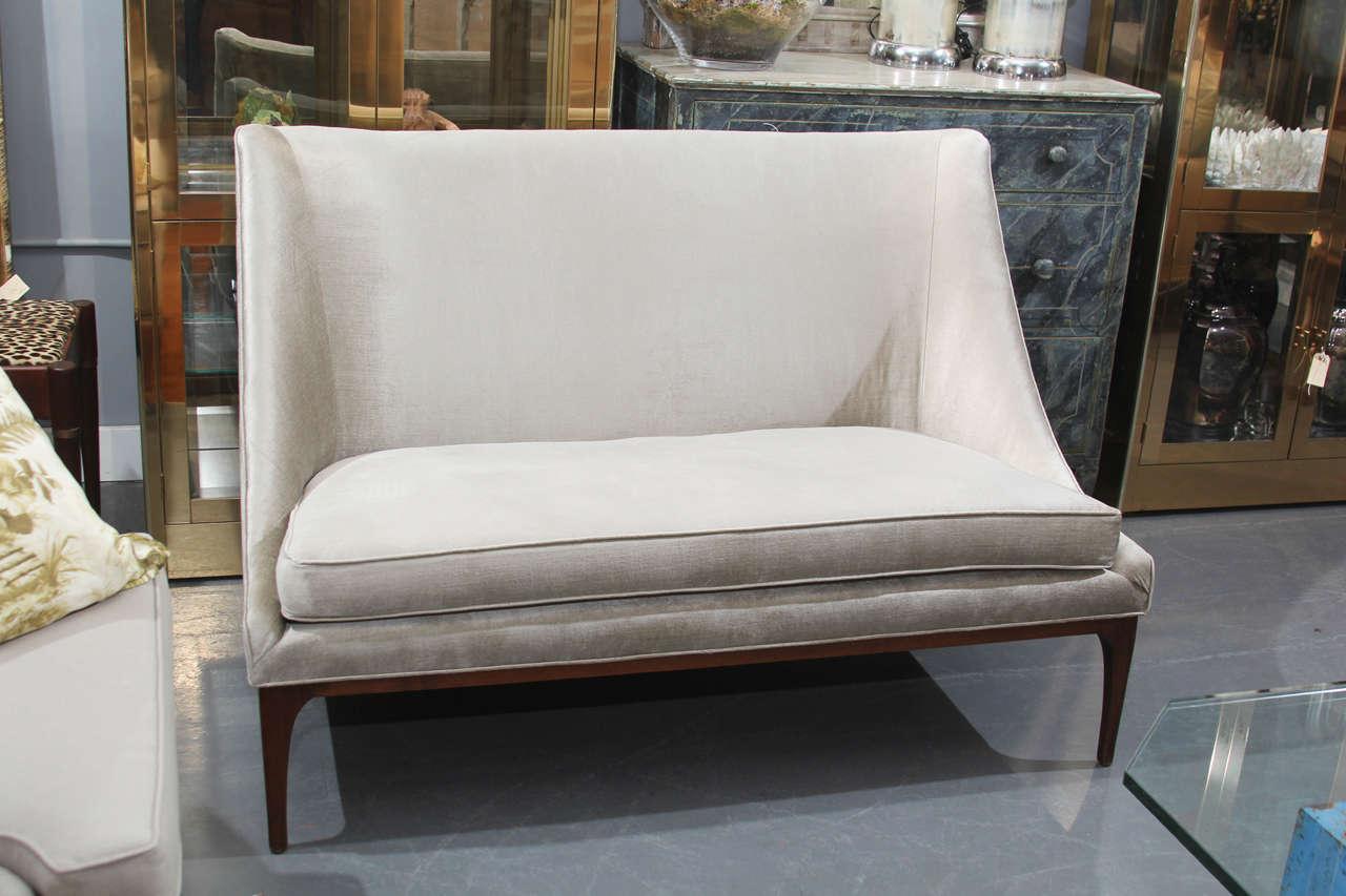 Silk Velvet Loveseat Or Small Sofa At 1stdibs