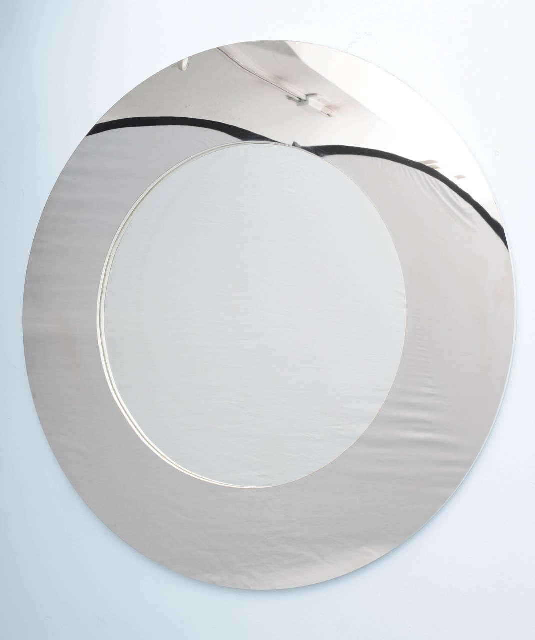 Modern Midcentury Minimalist Stainless Steel Mirror At 1stdibs