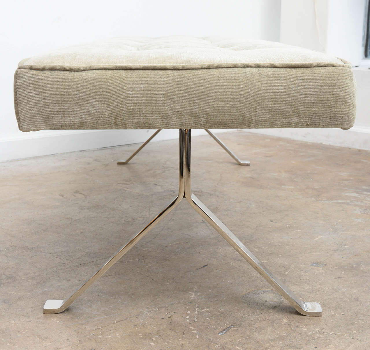 Mid Century Modern Y Form Nickel Upholstered Bench At 1stdibs