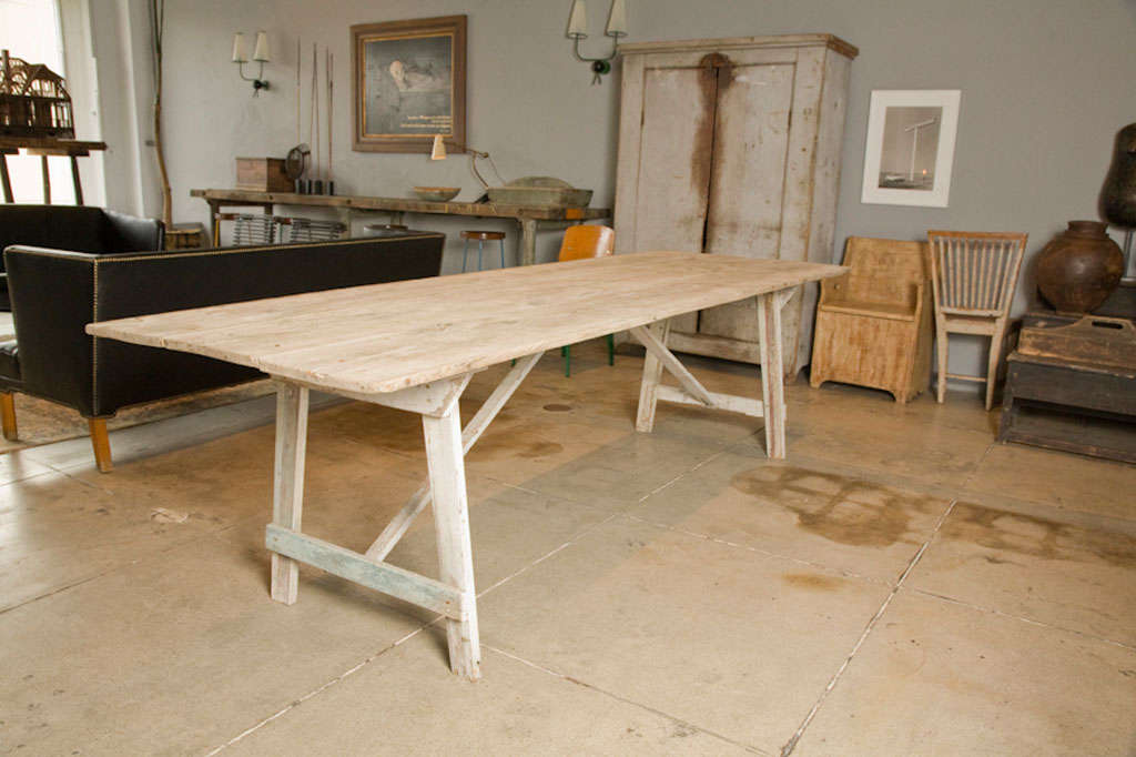 american primitive white washed harvest dining table at