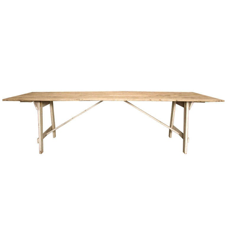 AMERICAN PRIMITIVE WHITE WASHED HARVEST DINING TABLE At 1stdibs