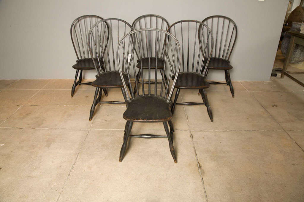 Black early american windsor chairs at 1stdibs