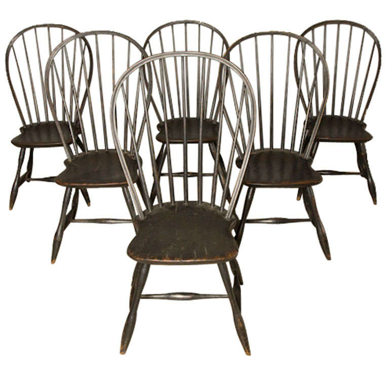 French dining room chairs - 6 Black Early American Windsor Chairs