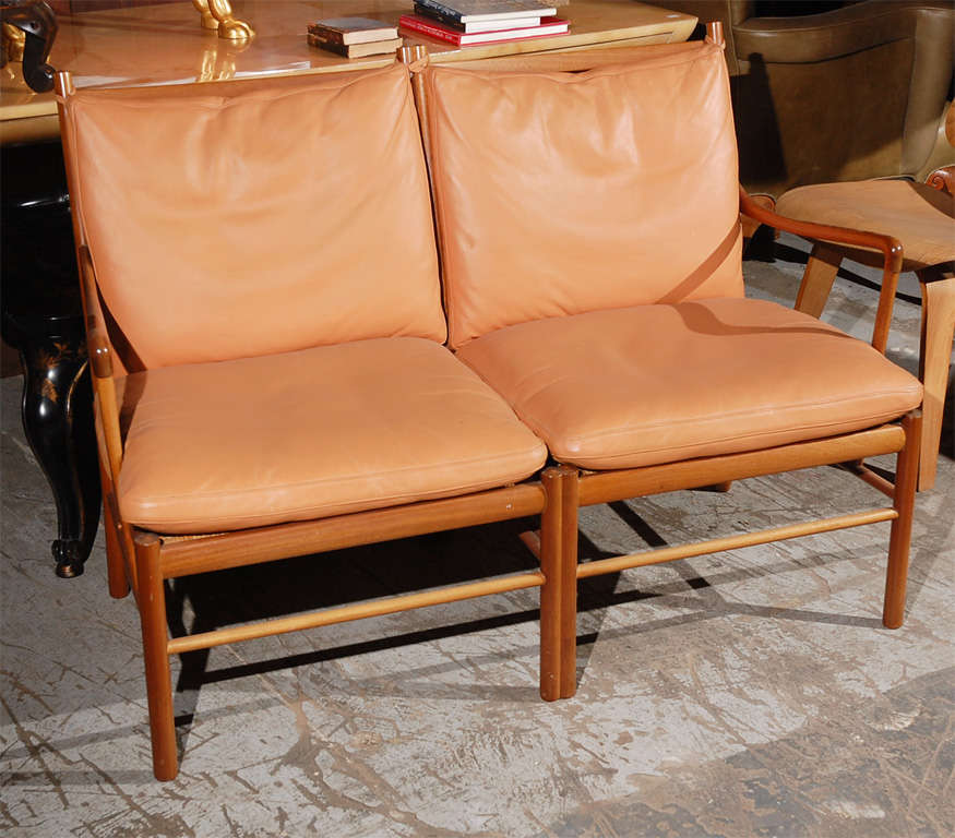 Ole Wanscher two-seat settee in mahogany with leather.
