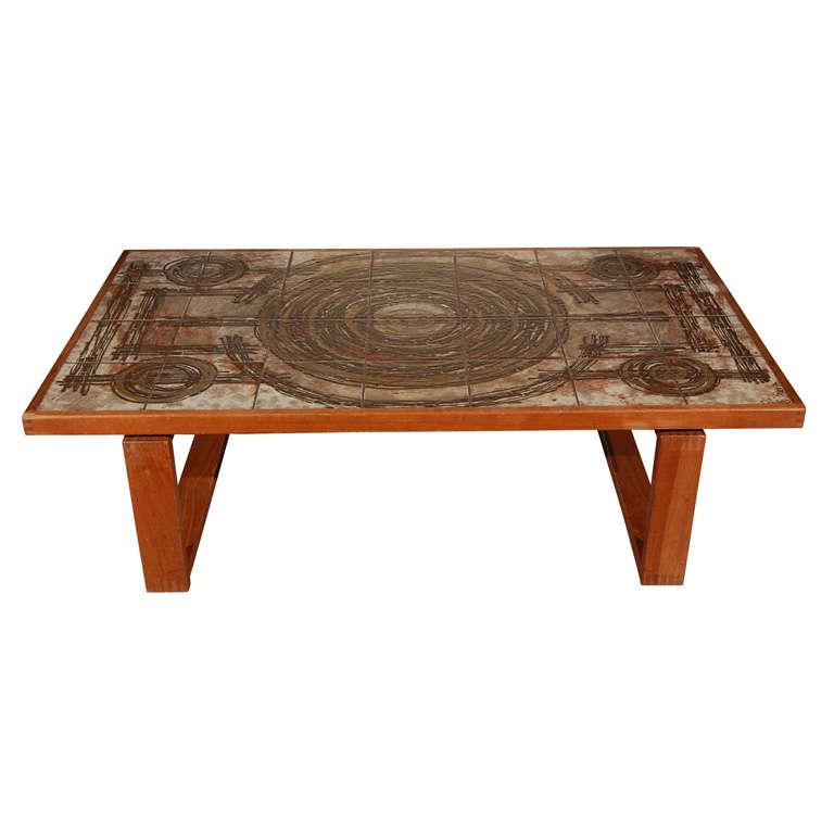 Danish tile top coffee table at 1stdibs for Tile coffee table