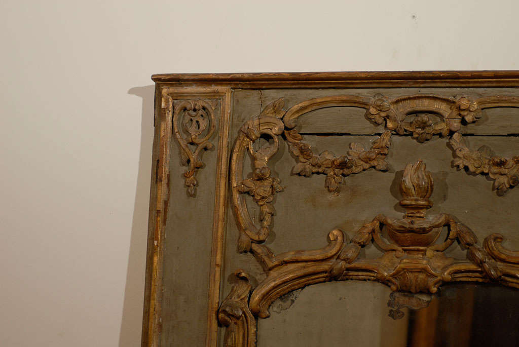 18th Century and Earlier French 18th Century Painted and Gilt Trumeau Mirror with Carved Scrolled Decor For Sale