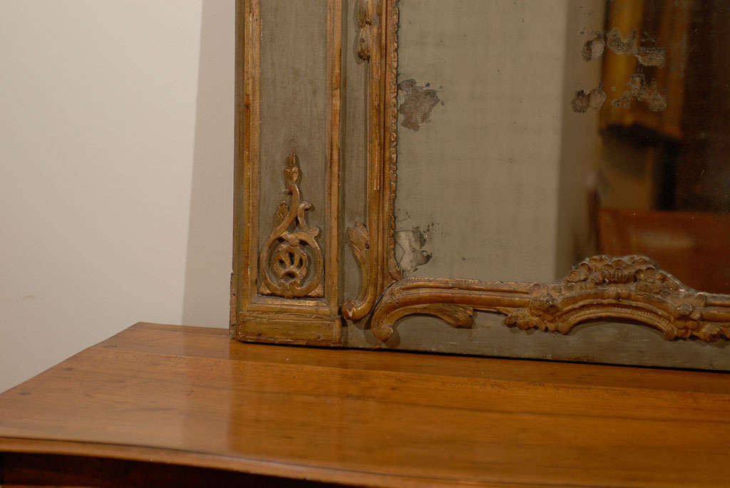 Giltwood French 18th Century Painted and Gilt Trumeau Mirror with Carved Scrolled Decor For Sale