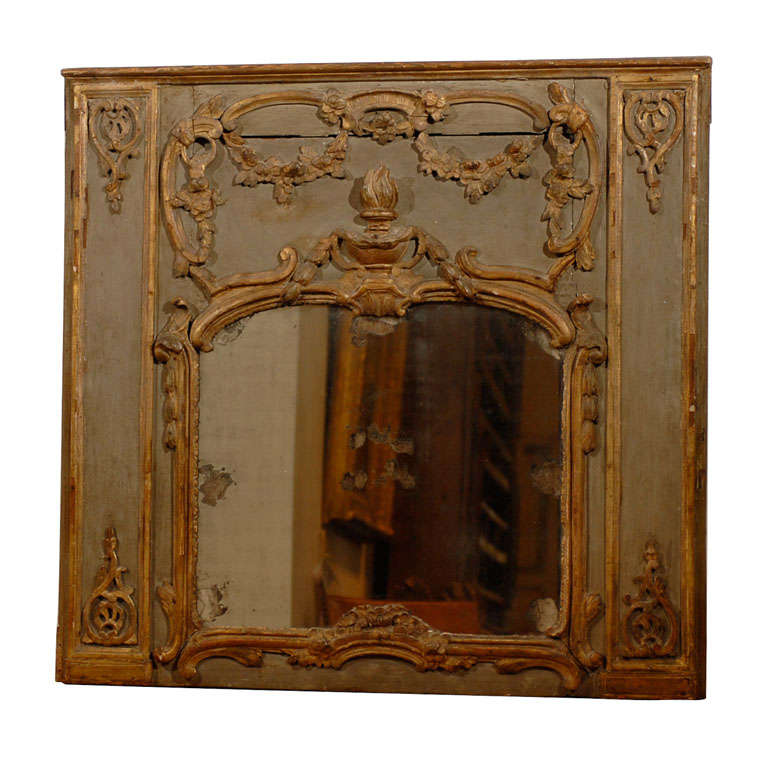 French 18th Century Painted and Gilt Trumeau Mirror with Carved Scrolled Decor For Sale