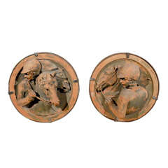 A Pair of Italian Terracotta Equestrian Sculptures