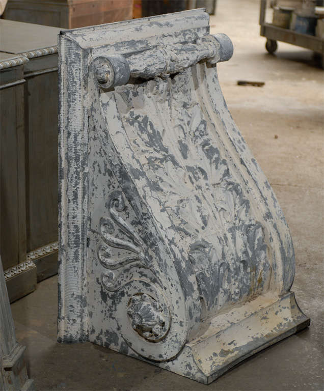 Industrial Pair of Large Size Turn of the Century Zinc Decorative Corbels with Volute For Sale