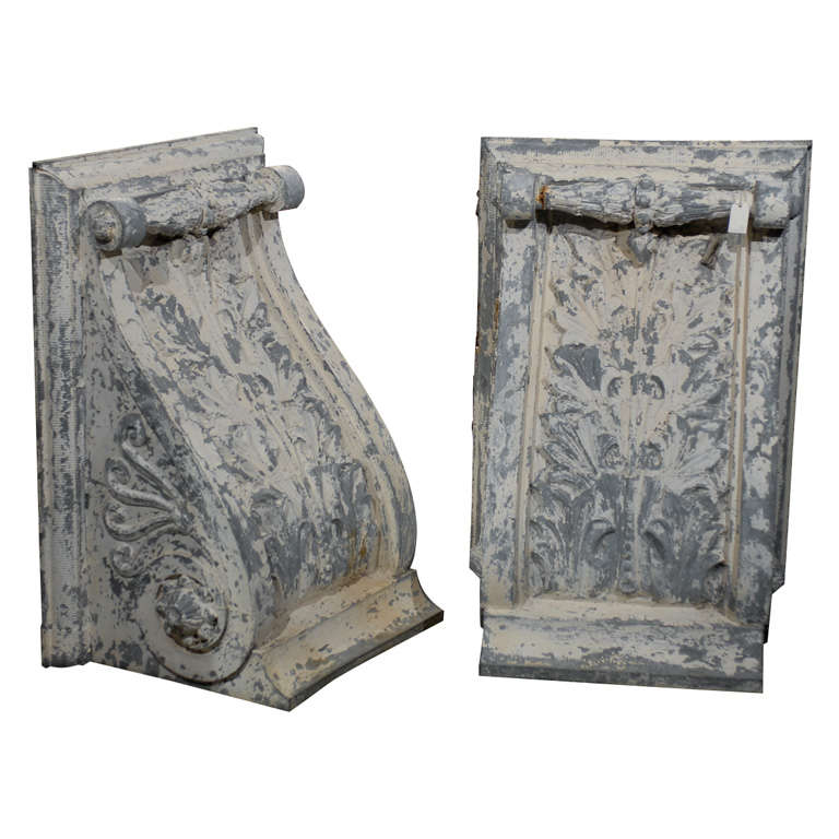Pair of Large Size Turn of the Century Zinc Decorative Corbels with Volute For Sale
