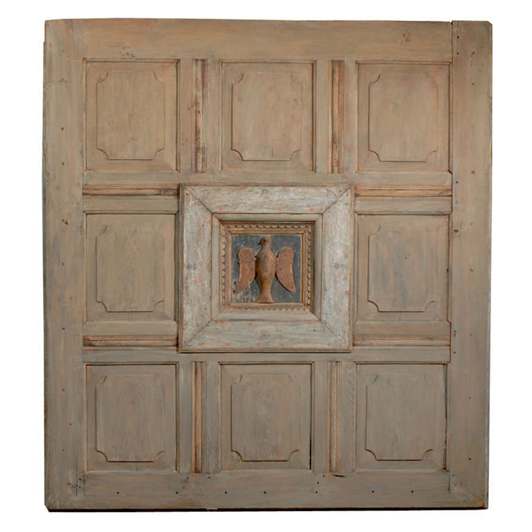17th-18th Century German Oak Panel with Dove of Peace Central Panel