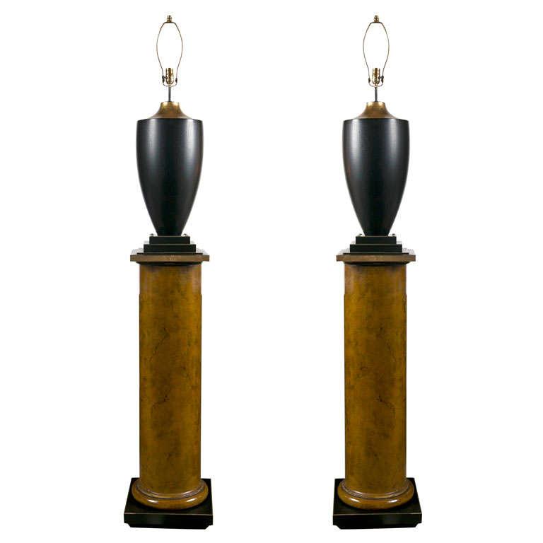 Pair of Lamps on Column Pedestals