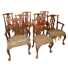 Fine Set of Eight Chippendale Period Mahogany Dining Chairs