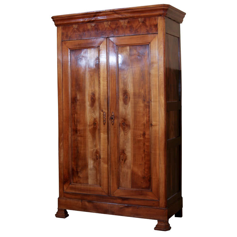 french louis philippe style cherry armoire at 1stdibs. Black Bedroom Furniture Sets. Home Design Ideas