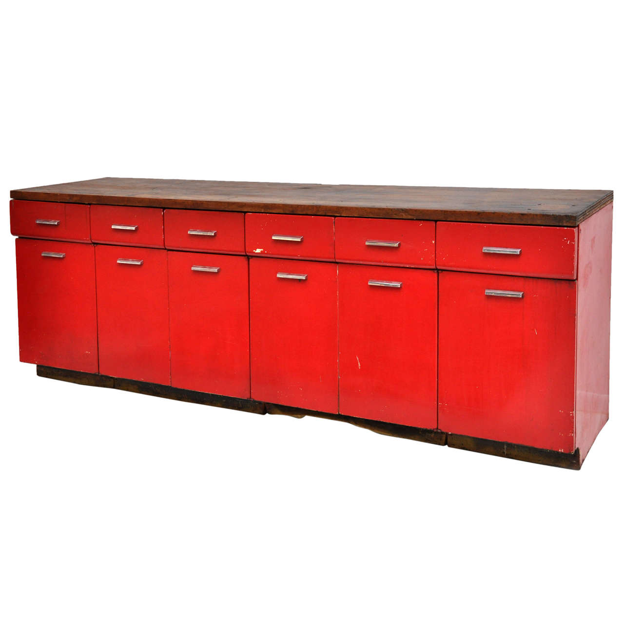 Mid century red painted steel industrial cabinet at 1stdibs for Best mid priced kitchen cabinets