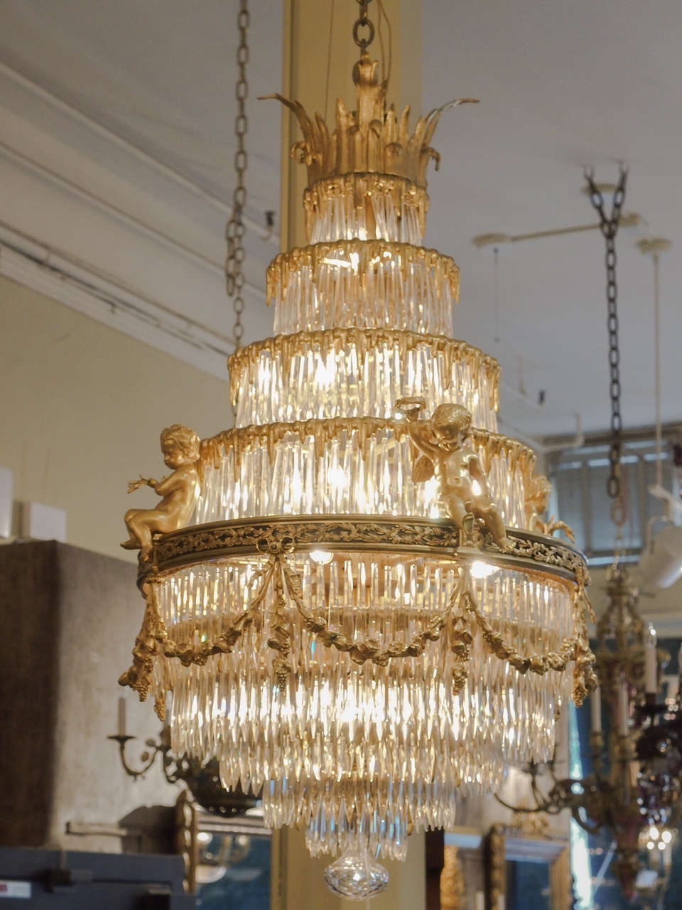 Antique French Baccarat Crystal Waterfall Chandelier at