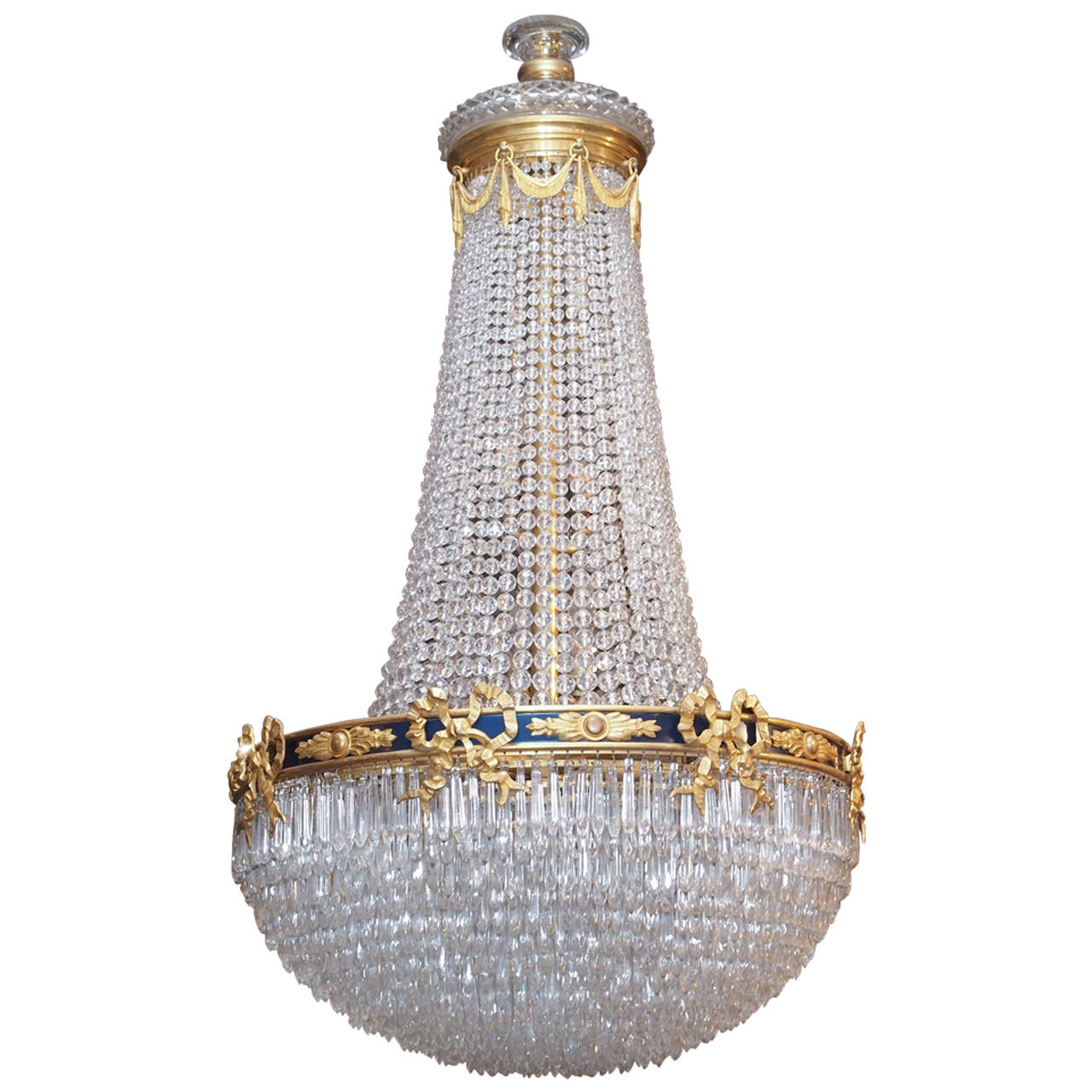 Antique empire exceptional baccarat waterfall chandelier for Empire antiques new orleans