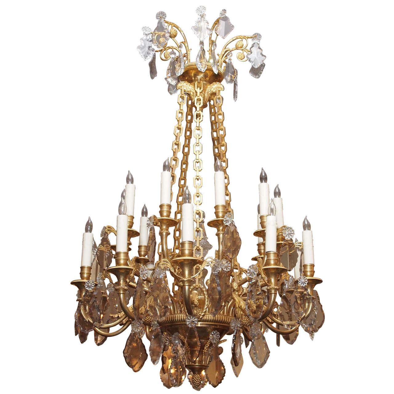 Antique French Finest Ormolu And Baccarat Crystal