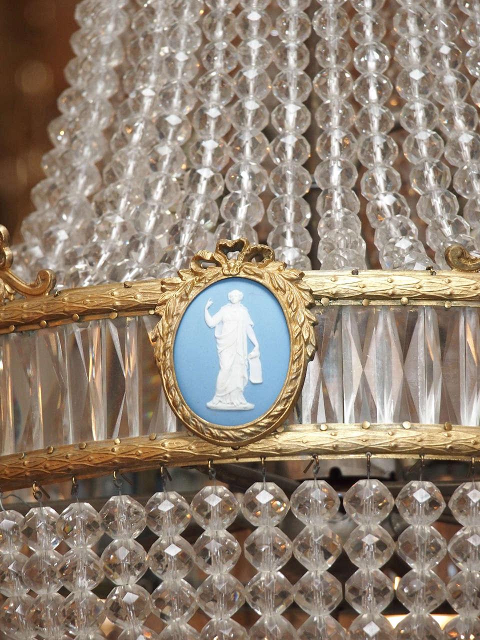 Antique English Adam Design Crystal And Bronze Chandelier