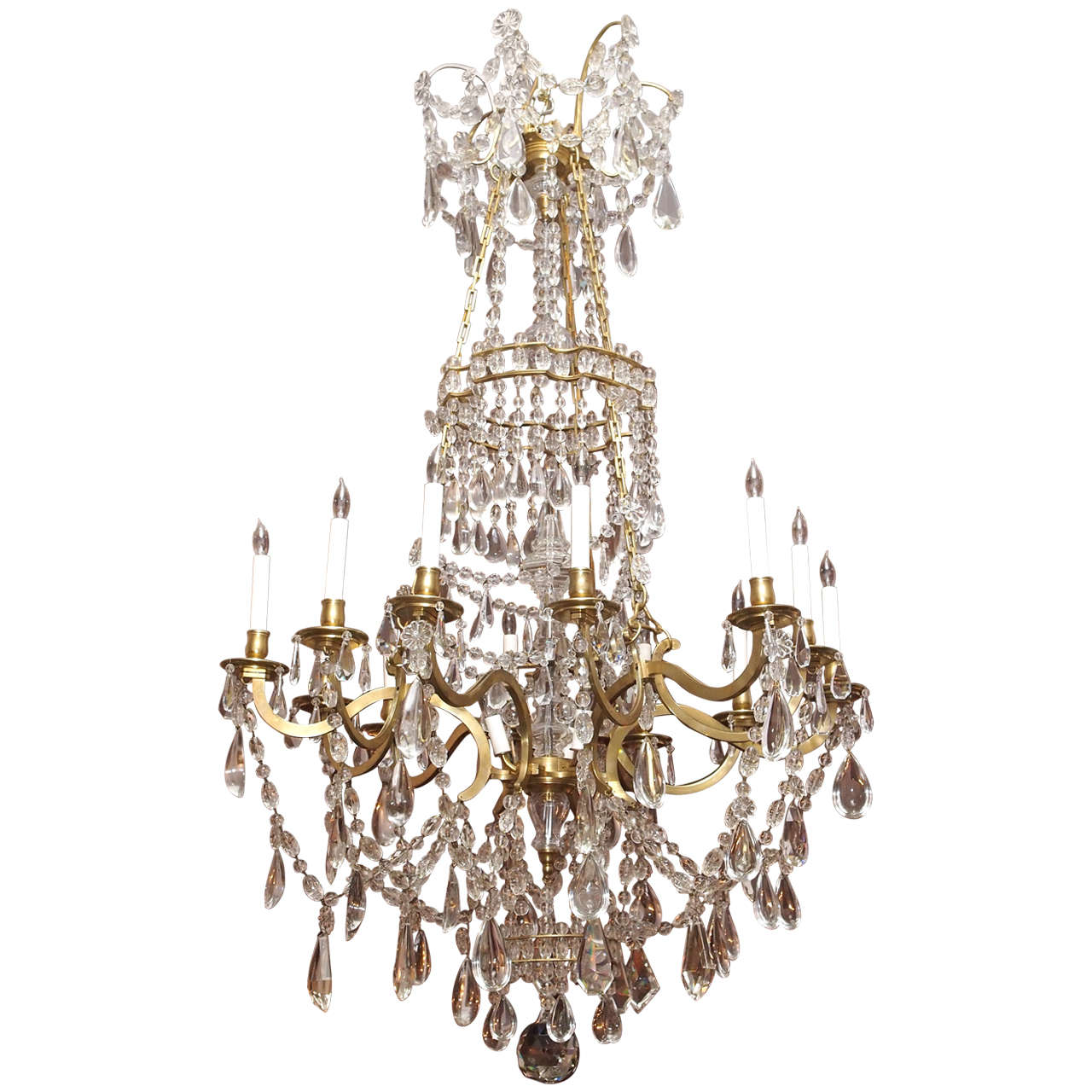 Antique French Grand Size Louis XVI Bronze D'ore and Baccarat Chandelier 1 - Antique French Grand Size Louis XVI Bronze D'ore And Baccarat