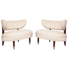 Pair of Channeled Oval Tub Chairs