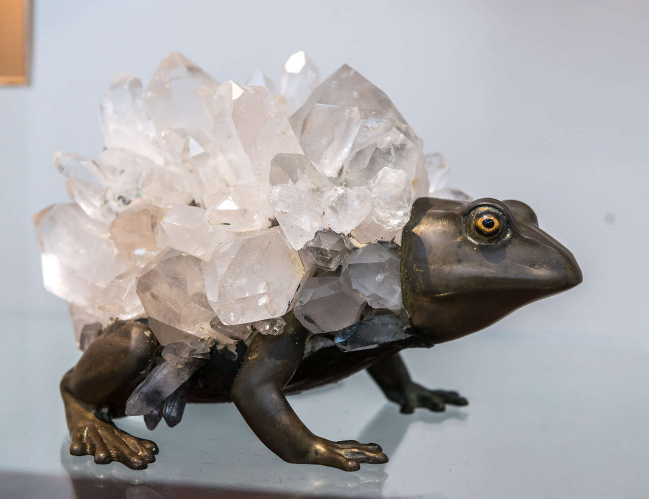 A captivating and unusual sculpture of a frog by Anthony REDMILE (England 20th century) in patinated bronze, overlaid with quartz.