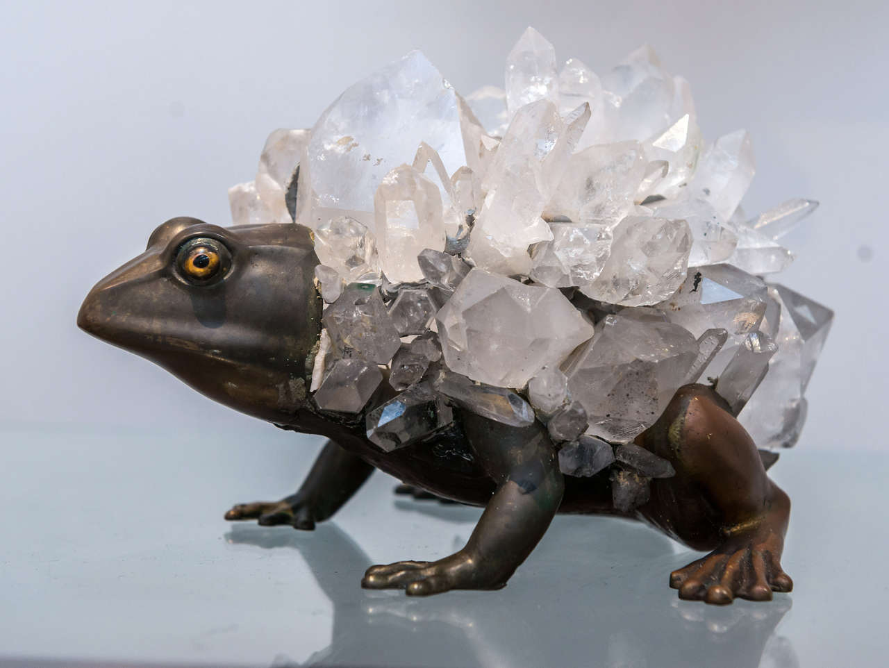 English Anthony REDMILE - Unusual Bronze and Quartz Frog Sculpture For Sale