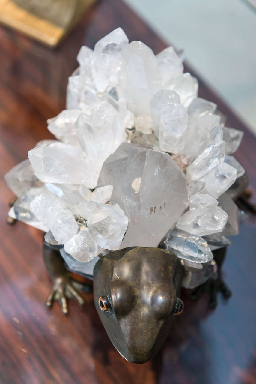 Late 20th Century Anthony REDMILE - Unusual Bronze and Quartz Frog Sculpture For Sale