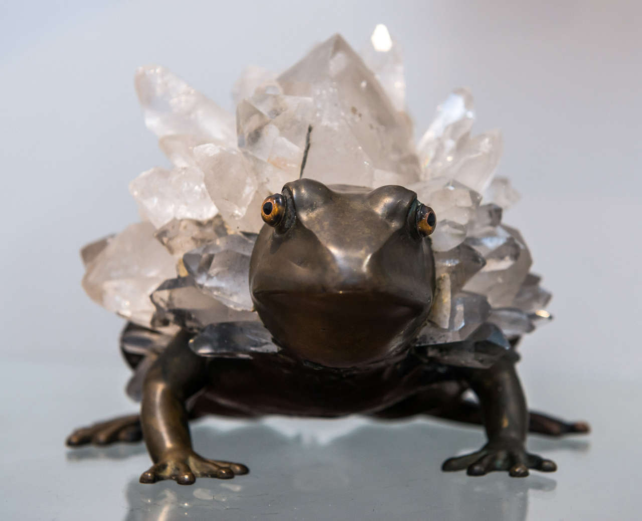 Anthony REDMILE - Unusual Bronze and Quartz Frog Sculpture For Sale 1