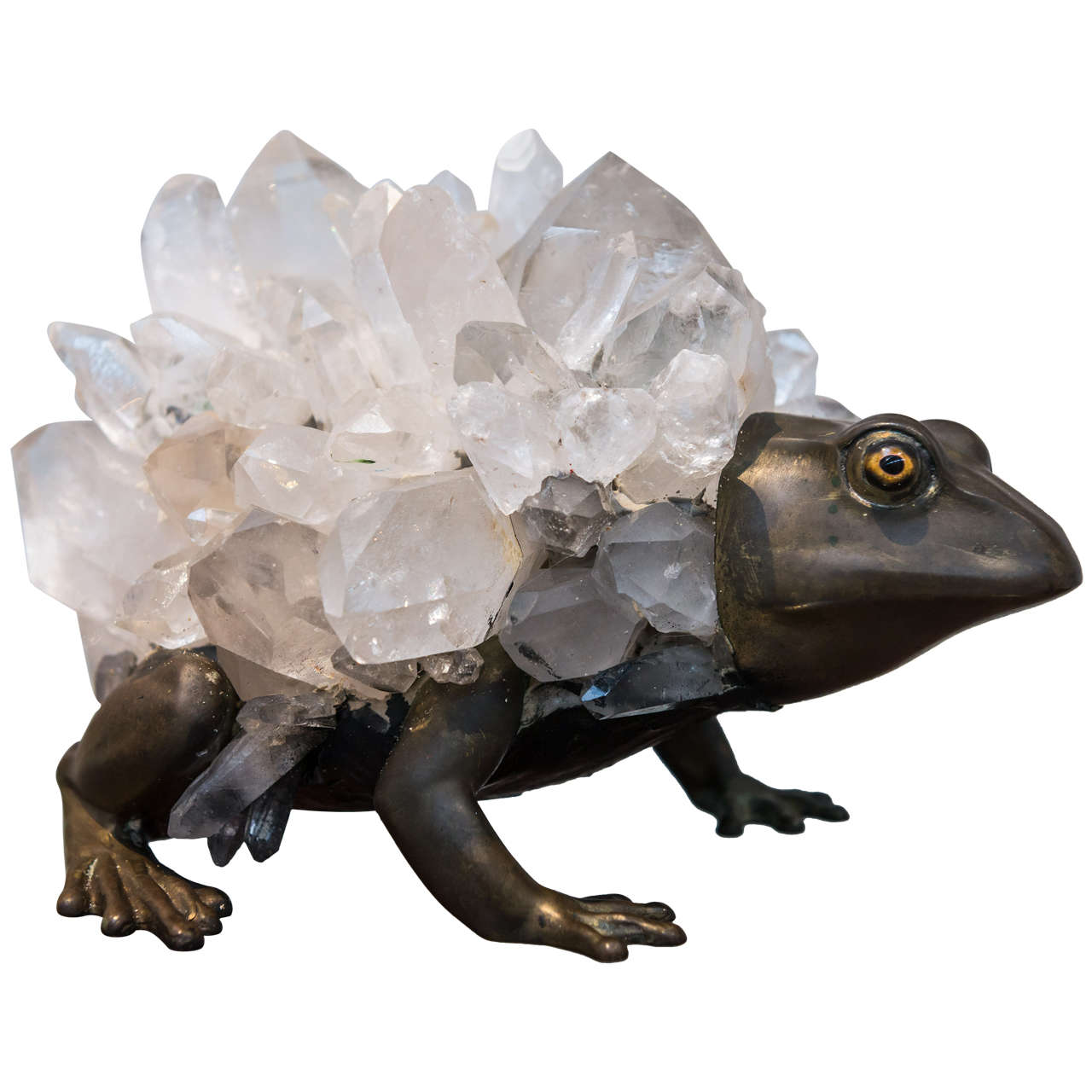 Anthony REDMILE - Unusual Bronze and Quartz Frog Sculpture For Sale