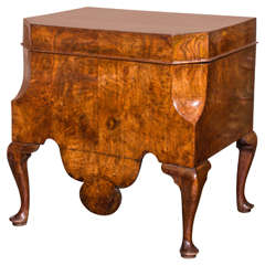 Queen Anne Wine Cellaret Veneered in Burled Walnut