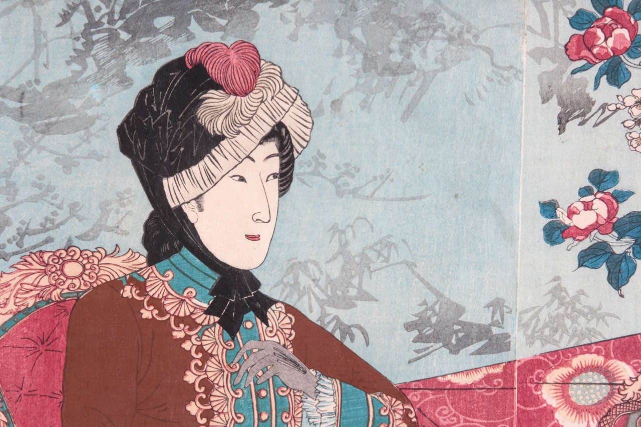 Important Japanese Color Woodblock Triptych of the Imperial Family In Good Condition For Sale In New York, NY