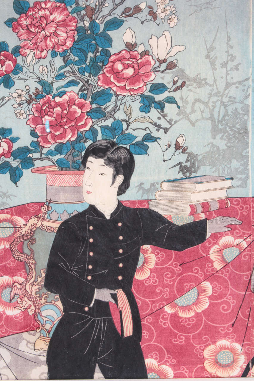 Important Japanese Color Woodblock Triptych of the Imperial Family For Sale 1