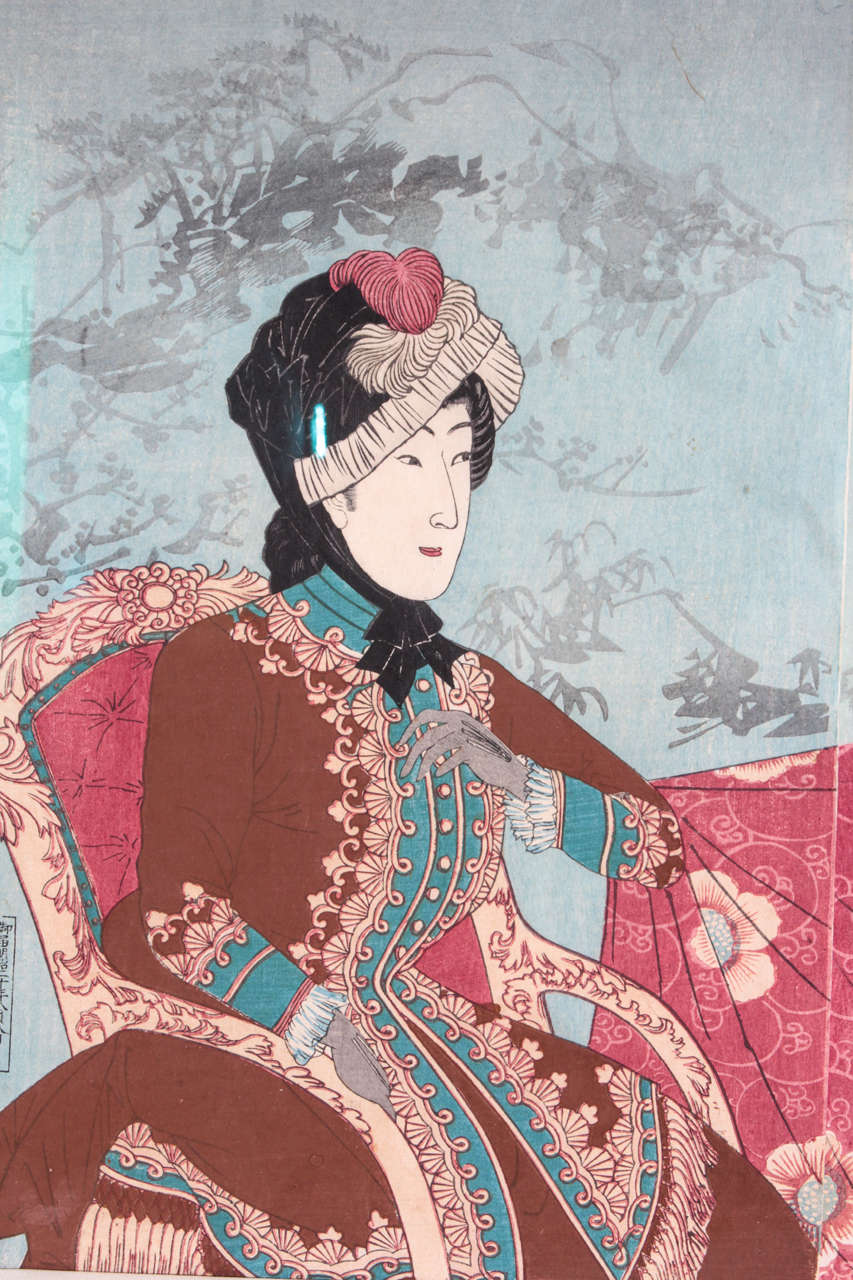 Important Japanese Color Woodblock Triptych of the Imperial Family For Sale 3